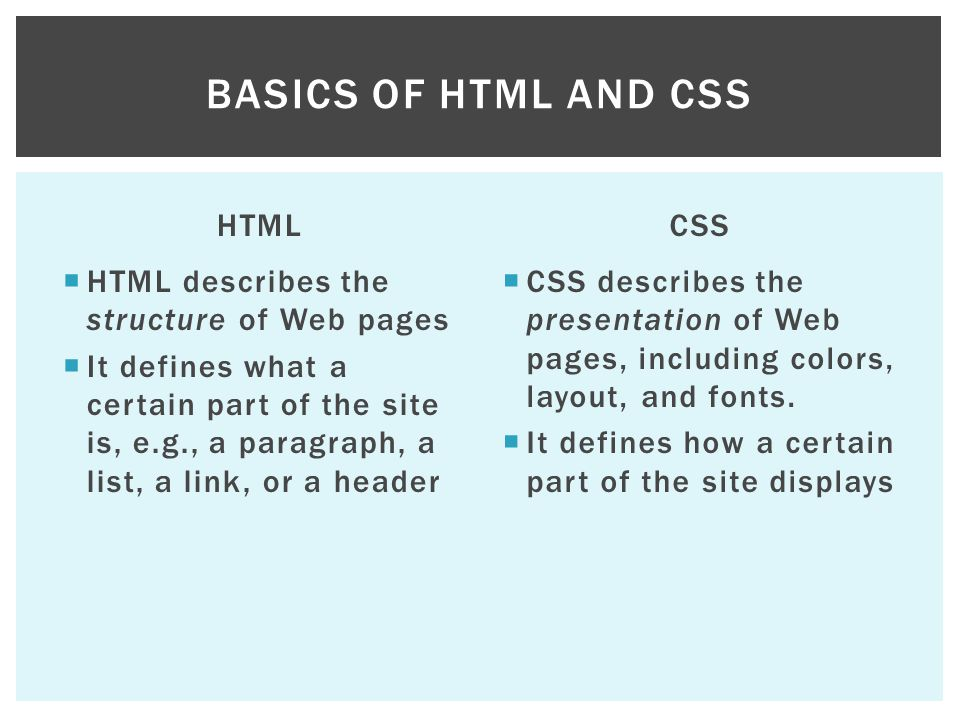 Basics of HTML and CSS HTML CSS