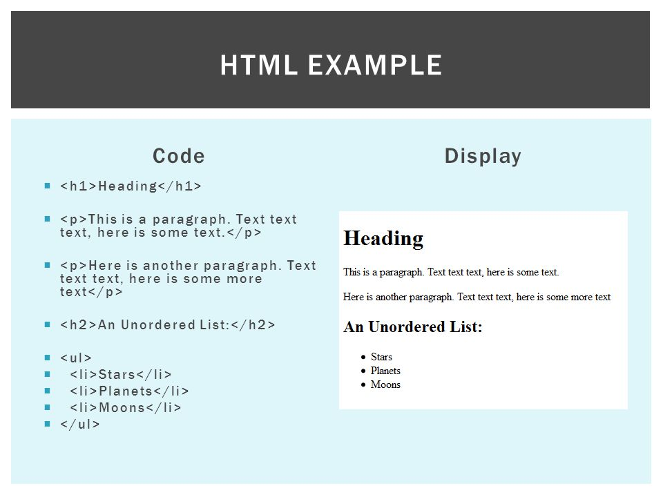 HTML example Code Display <h1>Heading</h1>