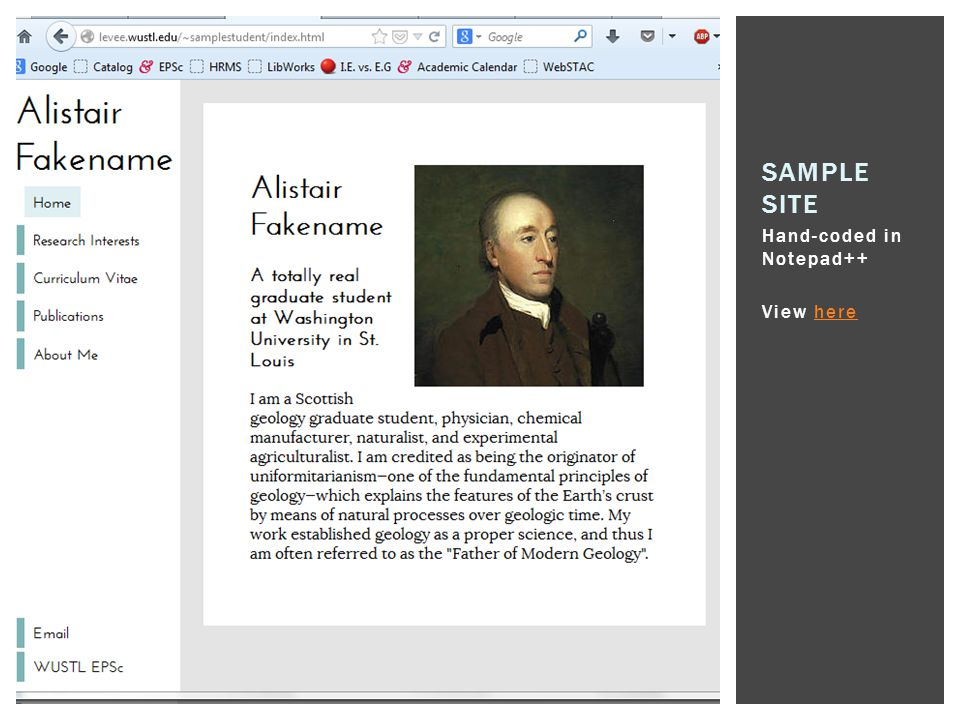 Sample Site Hand-coded in Notepad++ View here