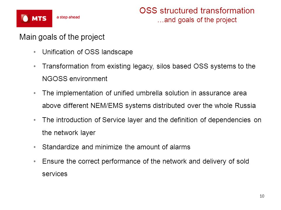 OSS structured transformation …and goals of the project