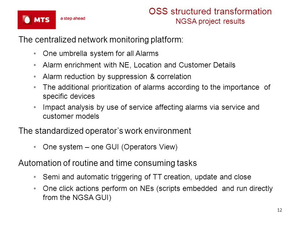OSS structured transformation NGSA project results
