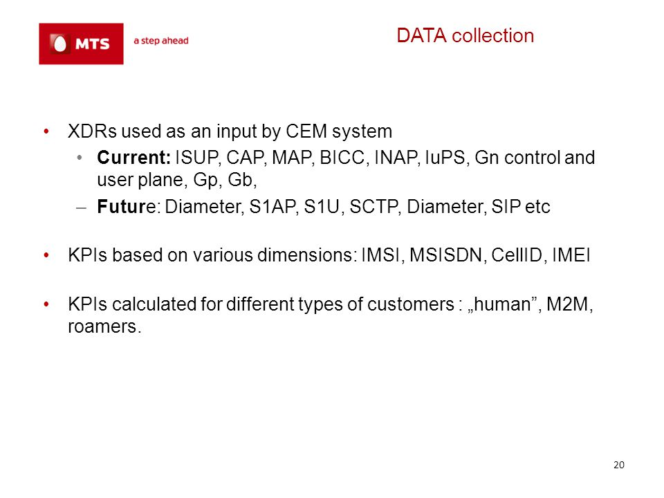DATA collection XDRs used as an input by CEM system