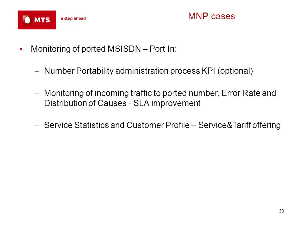 MNP cases Monitoring of ported MSISDN – Port In: