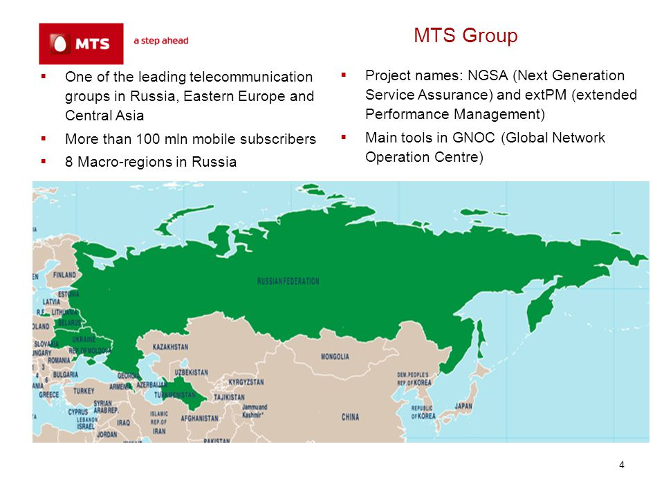 MTS Group One of the leading telecommunication groups in Russia, Eastern Europe and Central Asia. More than 100 mln mobile subscribers.