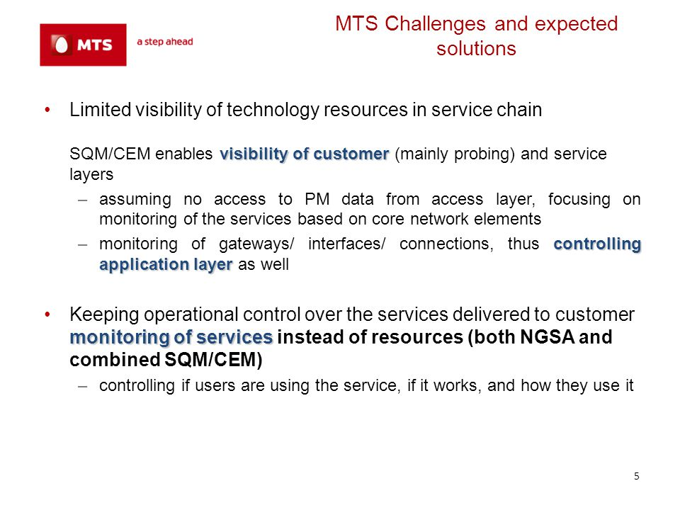 MTS Challenges and expected solutions