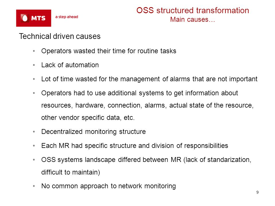 OSS structured transformation Main causes…