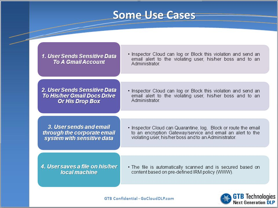 Some Use Cases 1. User Sends Sensitive Data To A Gmail Account