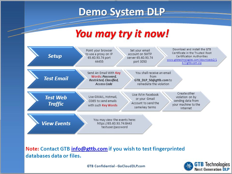 Demo System DLP You may try it now!