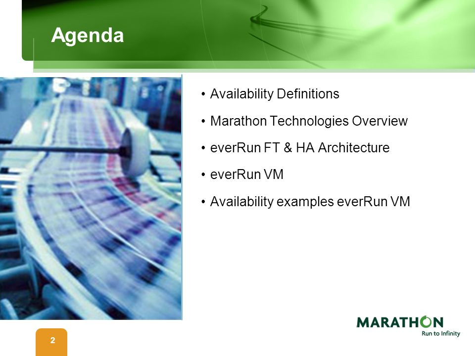 Agenda Availability Definitions Marathon Technologies Overview