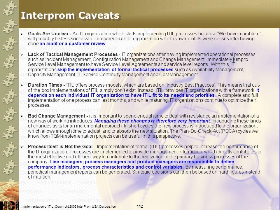 Interprom Caveats