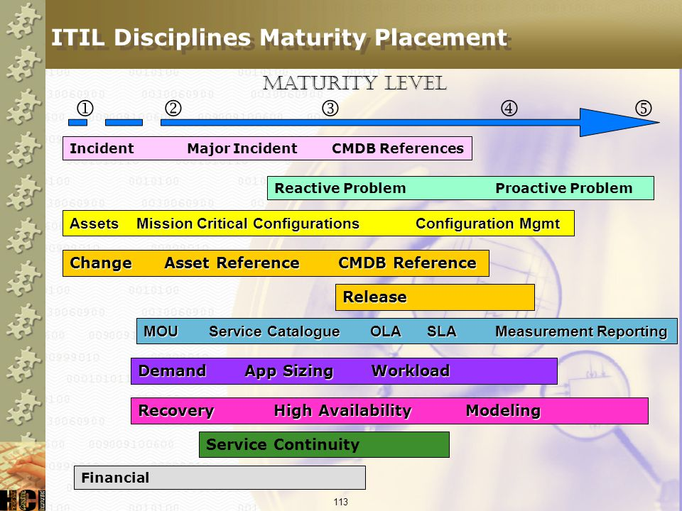 ITIL Disciplines Maturity Placement