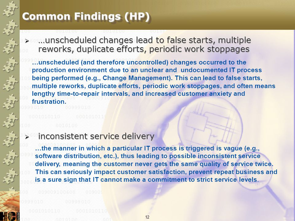 Common Findings (HP) …unscheduled changes lead to false starts, multiple reworks, duplicate efforts, periodic work stoppages.