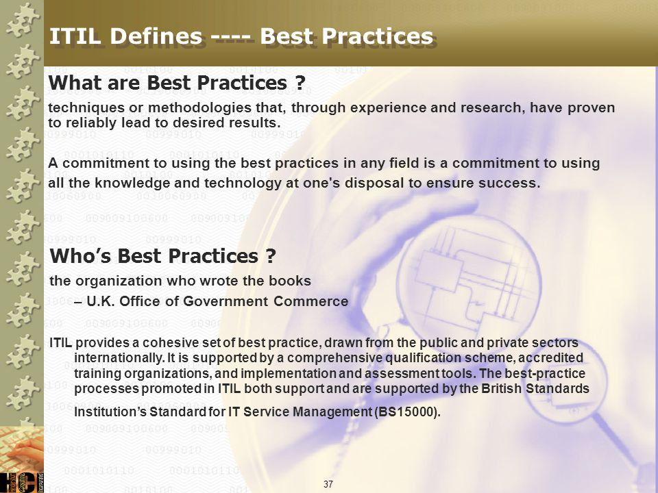 ITIL Defines ---- Best Practices