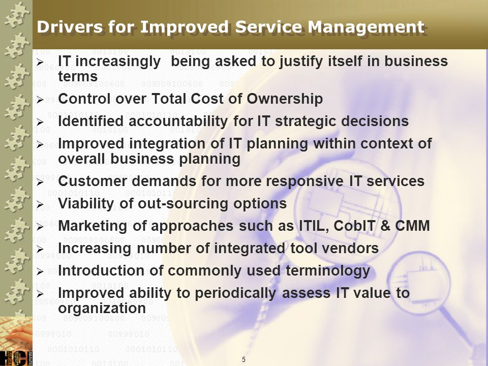 Drivers for Improved Service Management