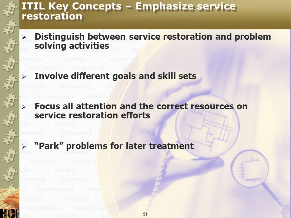 ITIL Key Concepts – Emphasize service restoration
