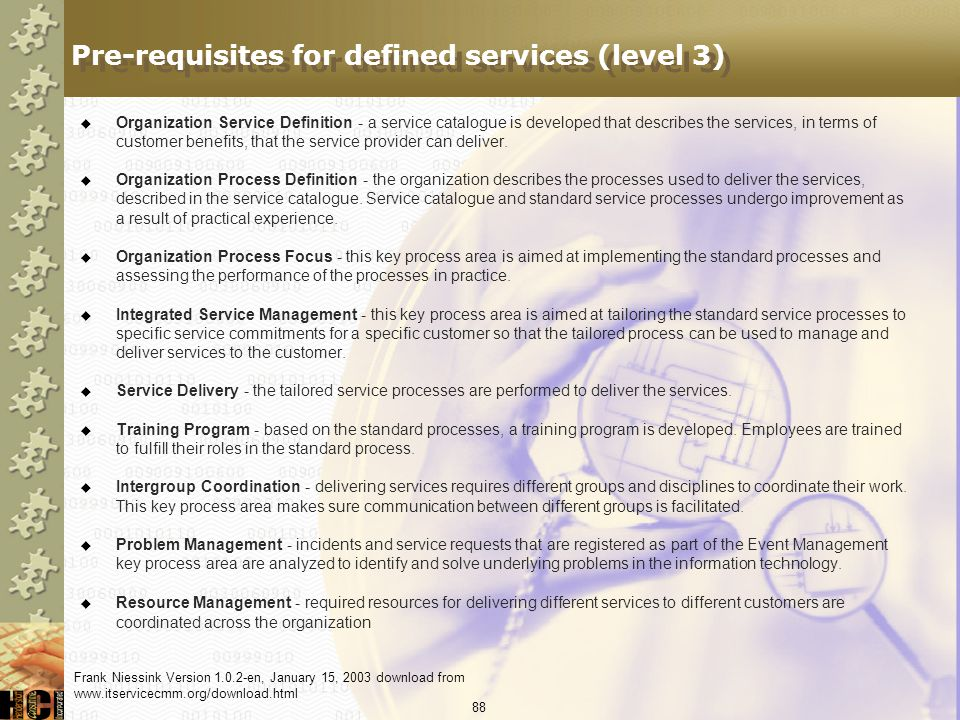 Pre-requisites for defined services (level 3)