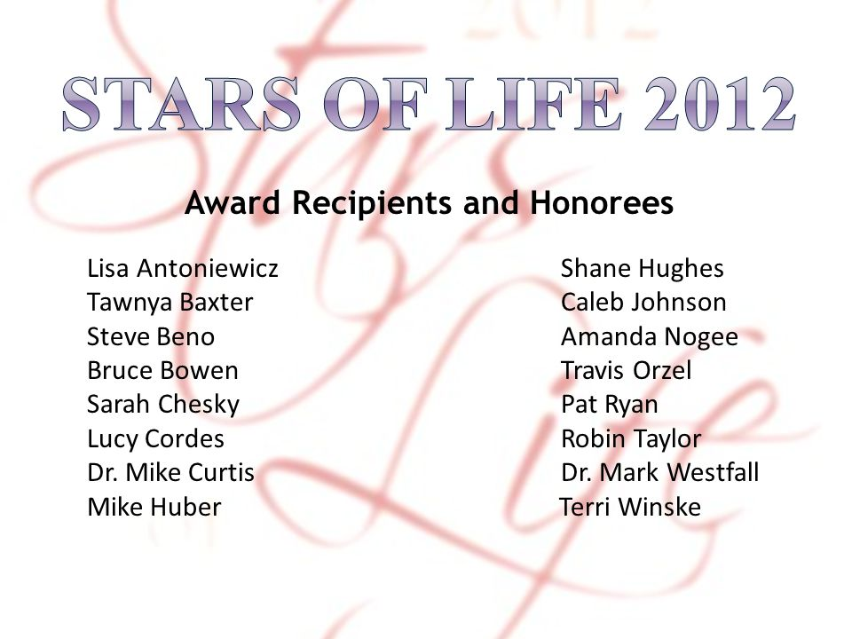 Award Recipients and Honorees