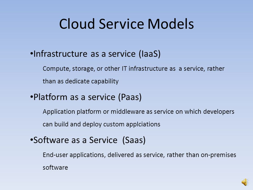 Cloud Service Models Infrastructure as a service (IaaS)