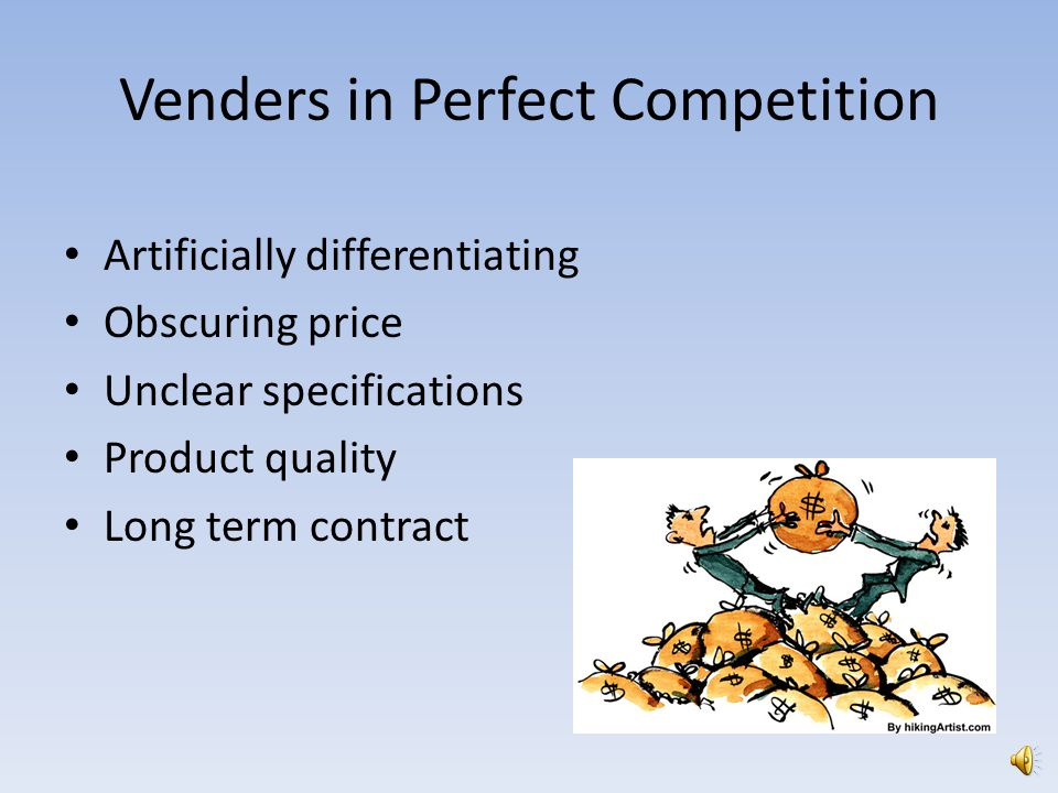 Venders in Perfect Competition