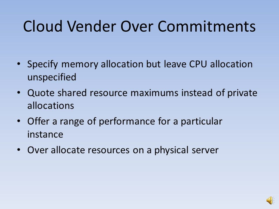 Cloud Vender Over Commitments