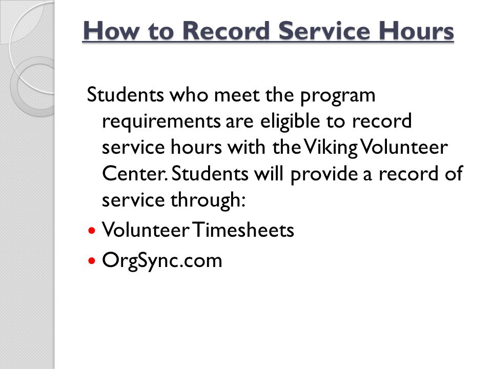 How to Record Service Hours