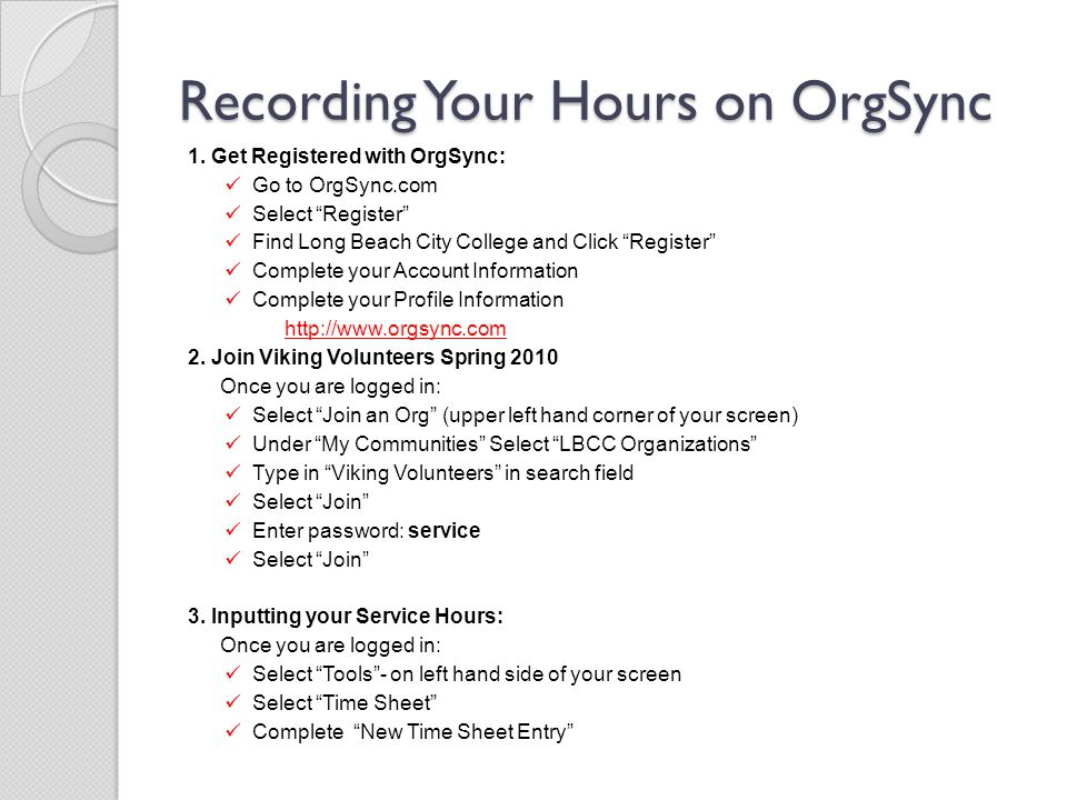 Recording Your Hours on OrgSync