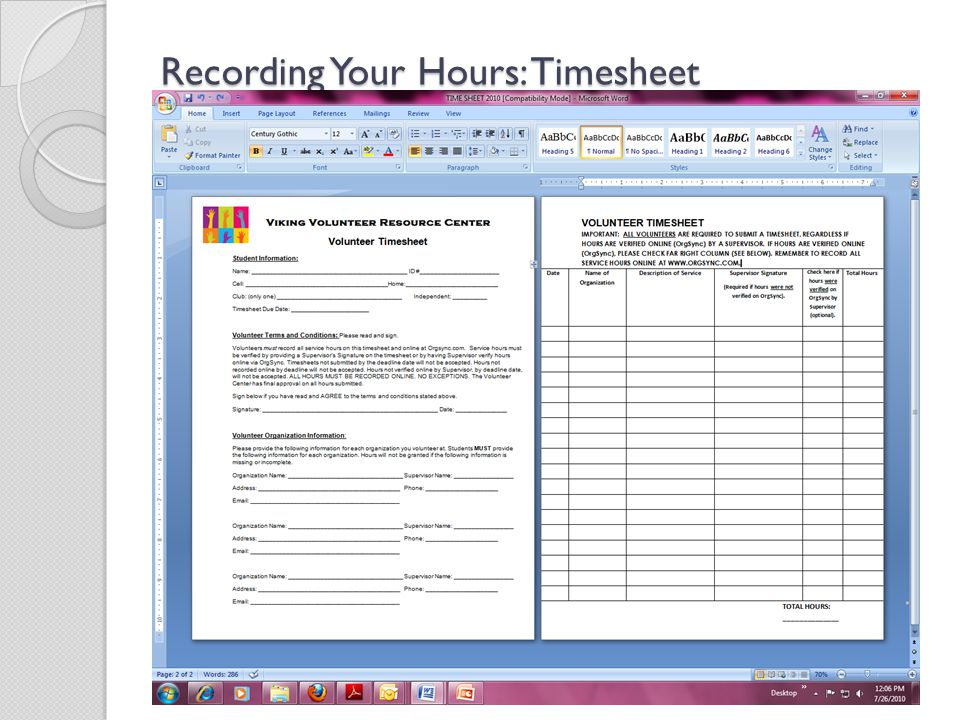 Recording Your Hours: Timesheet