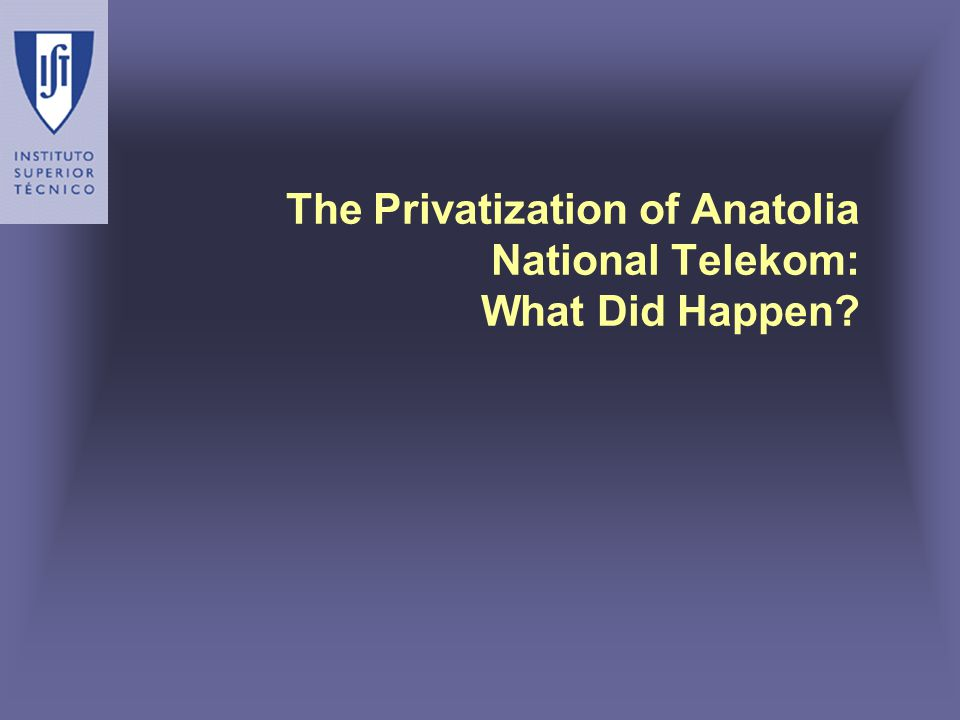 The Privatization of Anatolia National Telekom: What Did Happen
