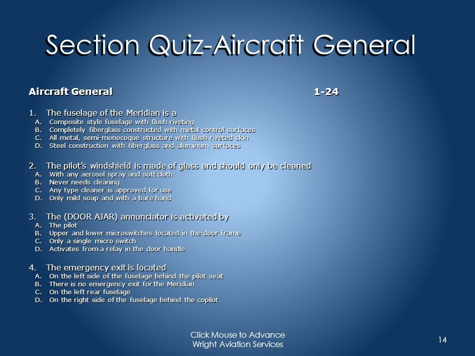 Section Quiz-Aircraft General