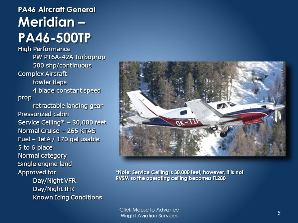 PA46 Aircraft General Meridian – PA46-500TP
