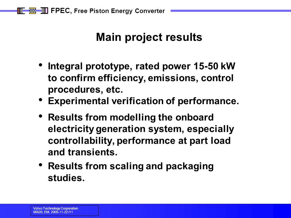 Main project results Integral prototype, rated power kW to confirm efficiency, emissions, control procedures, etc.