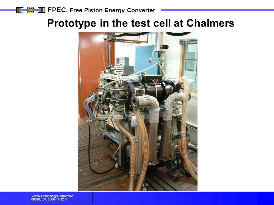 Prototype in the test cell at Chalmers
