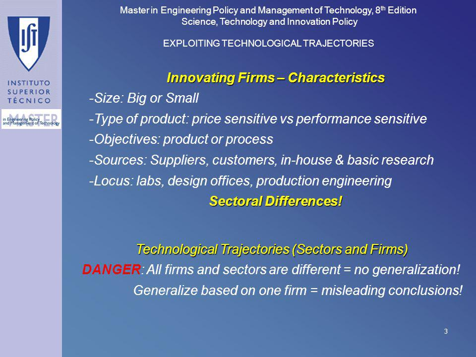 Innovating Firms – Characteristics