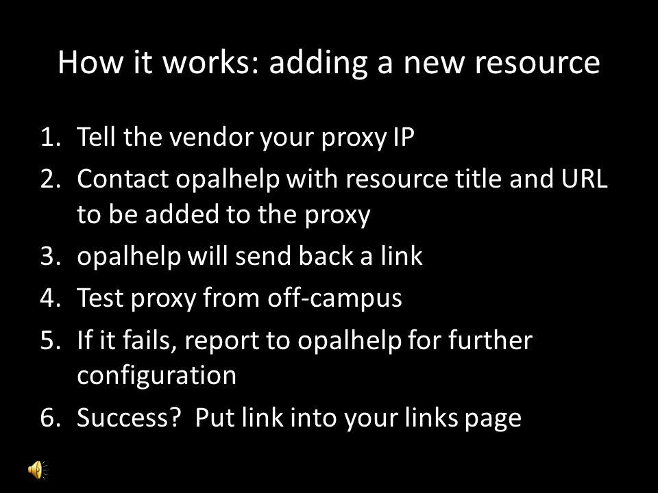 How it works: adding a new resource