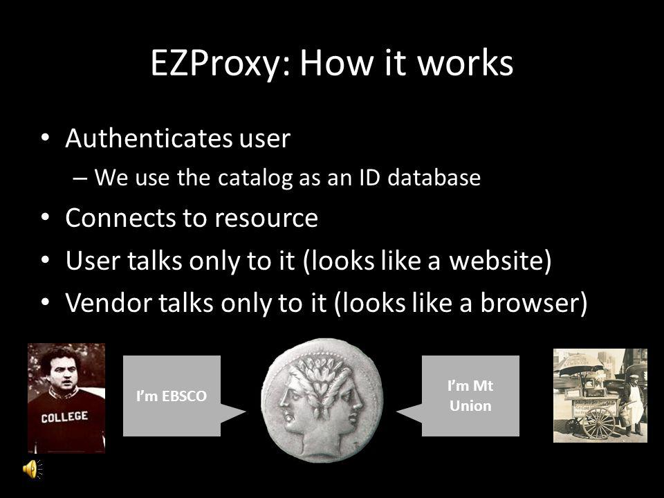 EZProxy: How it works Authenticates user Connects to resource