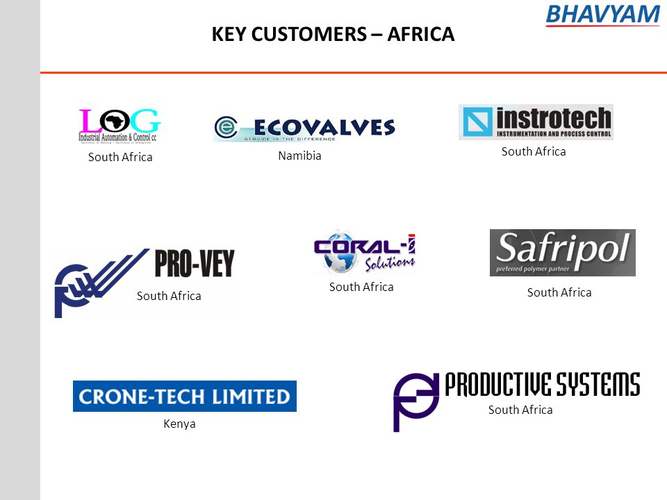 KEY CUSTOMERS – AFRICA South Africa South Africa Namibia South Africa