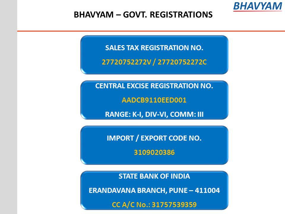 BHAVYAM – GOVT. REGISTRATIONS
