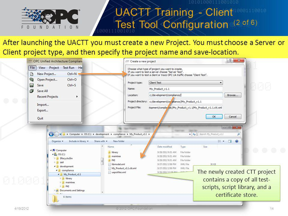 UACTT Training - Client Test Tool Configuration (2 of 6)