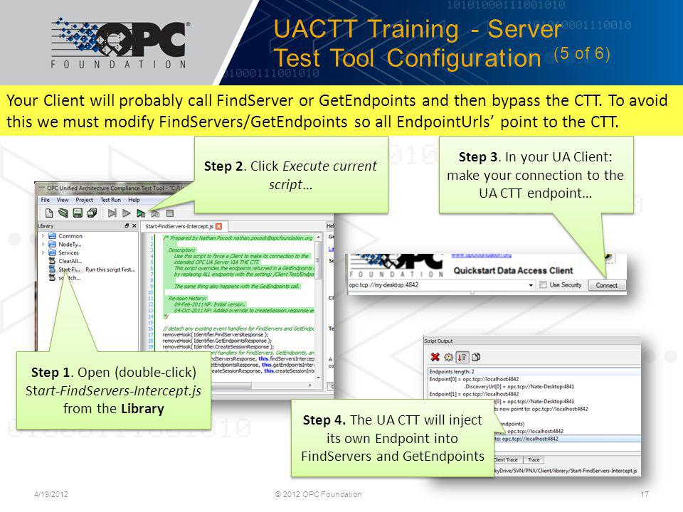 UACTT Training - Server Test Tool Configuration (5 of 6)