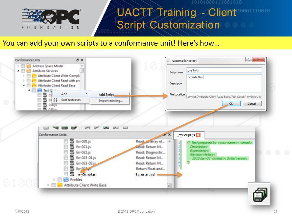 UACTT Training - Client Script Customization