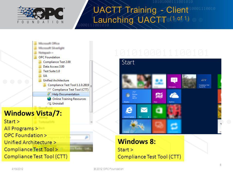 UACTT Training - Client Launching UACTT (1 of 1)