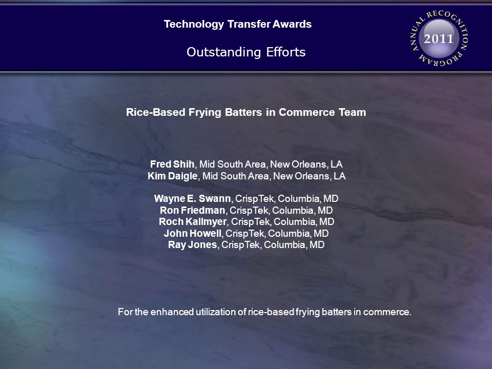 Technology Transfer Awards Rice-Based Frying Batters in Commerce Team