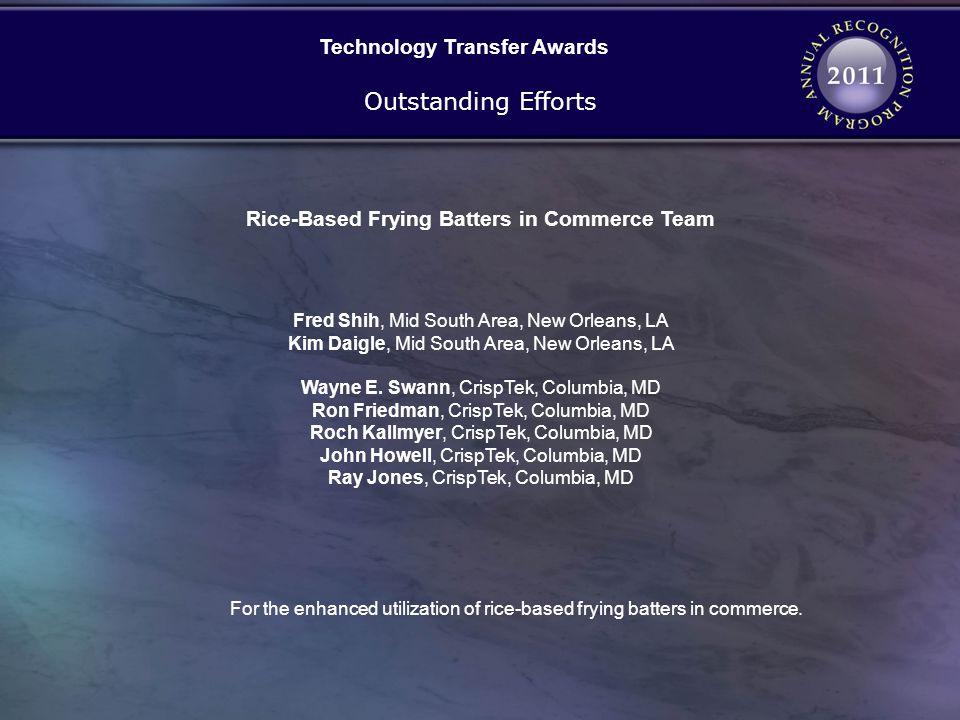 Technology Transfer Awards Rice-Based Frying Batters in Commerce Team