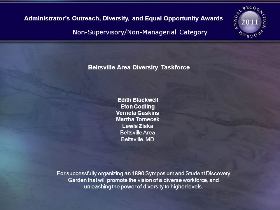 Administrator's Outreach, Diversity, and Equal Opportunity Awards