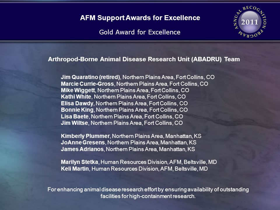 AFM Support Awards for Excellence