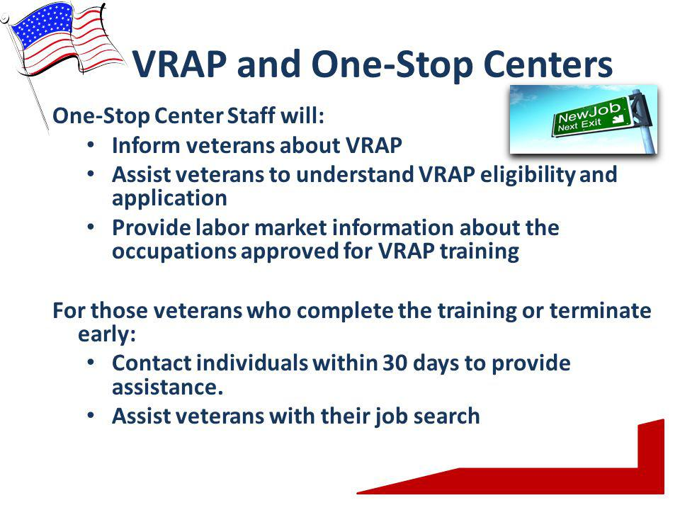 VRAP and One-Stop Centers