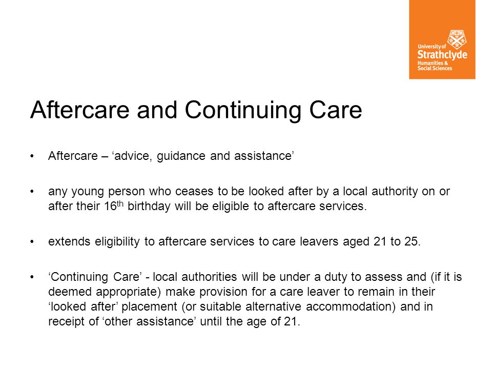 Aftercare and Continuing Care