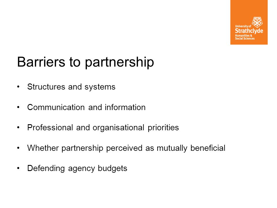 Barriers to partnership