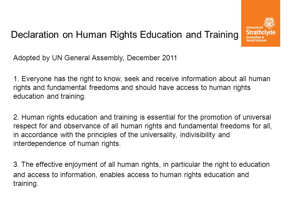 Declaration on Human Rights Education and Training