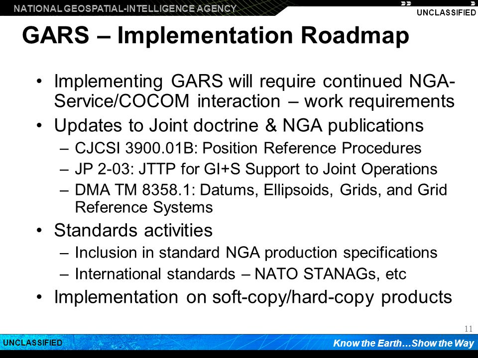 GARS – Implementation Roadmap
